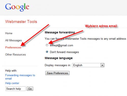 Google Webmaster Tools: wybór emaila