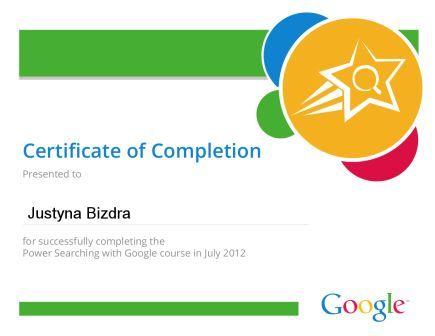 Mój certyfikat ukończenia kursu Google