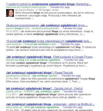 Tag rel author w wynikach wyszukiwania