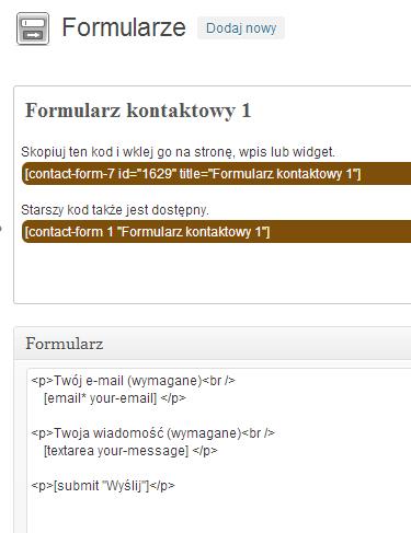 Formularz kontaktu Contact Form 7