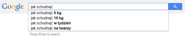 Propozycje słów kluczowych Google