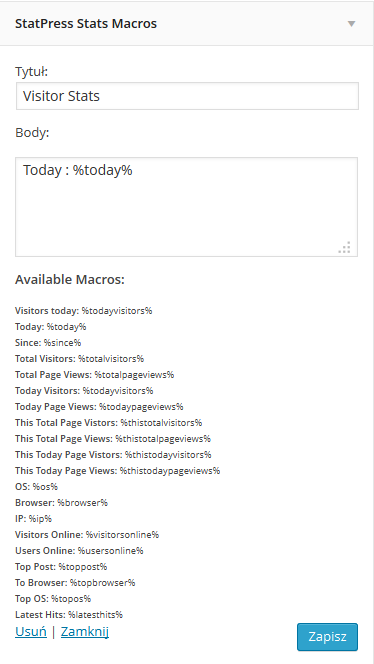 Ustawienie widgetu Statpress Visitors